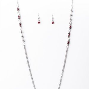 Majestic Mandaly Red Lanyard and Earrings Set
